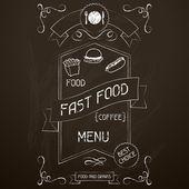 Fast food on the restaurant menu chalkboard. — Stock Vector