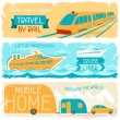 Set of horizontal travel banners in retro style. - Stock Vector