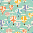 Retro seamless travel pattern of balloons. - Imagen vectorial