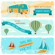 Set of horizontal travel banners in retro style. — Stock Vector