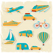 Set of tourist transport stickers. — Grafika wektorowa