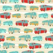 Retro seamless travel pattern of buses. - Stock Vector