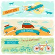 Set of horizontal travel banners in retro style. — ベクター素材ストック