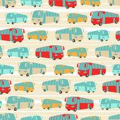Retro naadloze reizen patroon van bussen. — Stockvector