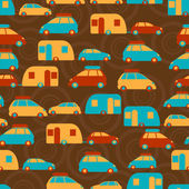 Retro seamless travel pattern of cars. — Stock Vector