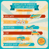 Vehicles in various types of tourism. — Stock vektor