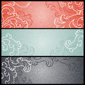 Banners with floral pattern in retro style. — Stock Vector