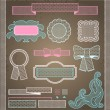 Decorative lace ribbon, bows and ornaments. — Vettoriali Stock
