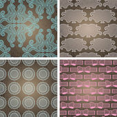 Seamless lace patterns on grunge texture. — Stock Vector