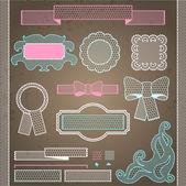 Decorative lace ribbon, bows and ornaments. — Stock Vector