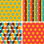 Seamless abstract retro geometric patterns set. — Stock Vector