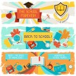 Horizontal banners with an illustration of school objects. — Grafika wektorowa