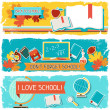 Horizontal banners with an illustration of school objects. — Imagens vectoriais em stock