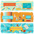 Horizontal banners with an illustration of school objects. — Stockvektor