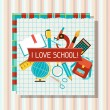 School and education background with sticky papers. — Stock Vector