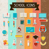 School and education sticker icons set. — Stock Vector