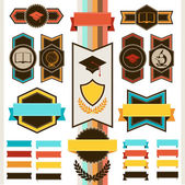 School education badges and ribbons. — Stock Vector