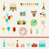 Happy Birthday party icons set. — Stock Vector