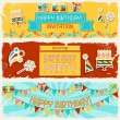 Happy Birthday horizontal banners. — Stock Vector