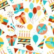 Stock Vector: Happy Birthday party seamless pattern.
