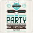 Invitation card for birthday in retro style. — 图库矢量图片