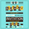 Invitation card for birthday in retro style. — Stock Vector #27430337
