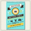 Invitation card for birthday in retro style. — Stock Vector #27430359