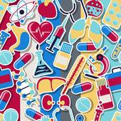 Médicos y cuidado de la salud de patrones sin fisuras. — Vector de stock