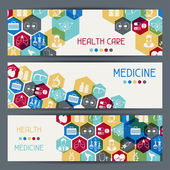Medical and health care horizontal banners. — Stock Vector