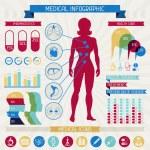 colección de elementos médicos infografía — Vector de stock