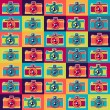 Seamless pattern in retro style with cameras. — Stock Vector #28118267
