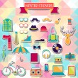Hipster style elements and icons set for retro design. — Stock Vector #28118287