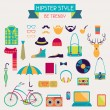 Stock Vector: Hipster style elements and icons set for retro design.