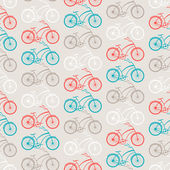 Bicycles seamless pattern in retro style. — Stock Vector