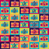Seamless pattern in retro style with cameras. — Stock Vector