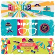 Hipster horizontal banners in retro style. — Stock Vector