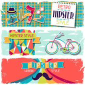 Hipster horizontal banners in retro style. — Vector de stock