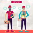 Two hipsters on urban background in retro style. — Stock Vector
