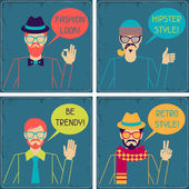 Hipster cards in retro style. — Stock Vector
