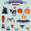 Happy Halloween stickers set for design. — Stock Vector