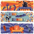 Happy Halloween grungy retro horizontal banners. — Stock Vector #28724405