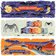 Happy Halloween grungy retro horizontal banners. — Vector de stock