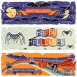 Stock Vector: Happy Halloween grungy retro horizontal banners.