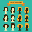 Retro hairstyles. Female silhouettes. — Stock Vector