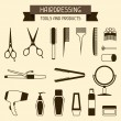 Stock Vector: Hairdressing tools and products.