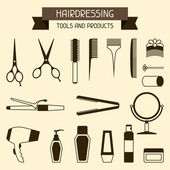 Hairdressing tools and products. — Stock Vector