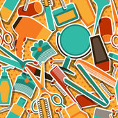 Hairdressing tools seamless pattern in retro style. — Stock Vector