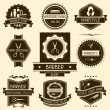 Stock Vector: Set of barber shop badges in retro style.