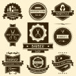 Set of barber shop badges in retro style. — Stock Vector