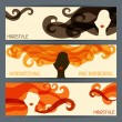 Hairstyle horizontal banners. — Stockvectorbeeld